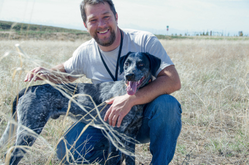 Thomas Aaron and his coonhound Roscoe